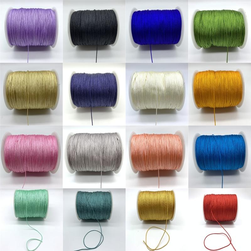 10 ярдов 1 мм нейлоновый шнур нить китайский узел макраме шнур браслет плетеный шнур DIY кисточки вышивка бисером для Шамбала веревка