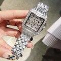 Dimini  квадратный Леопардовый принт  в горошек  женские часы из нержавеющей стали  полностью бриллиантовые часы  водонепроницаемые  с бриллиа...