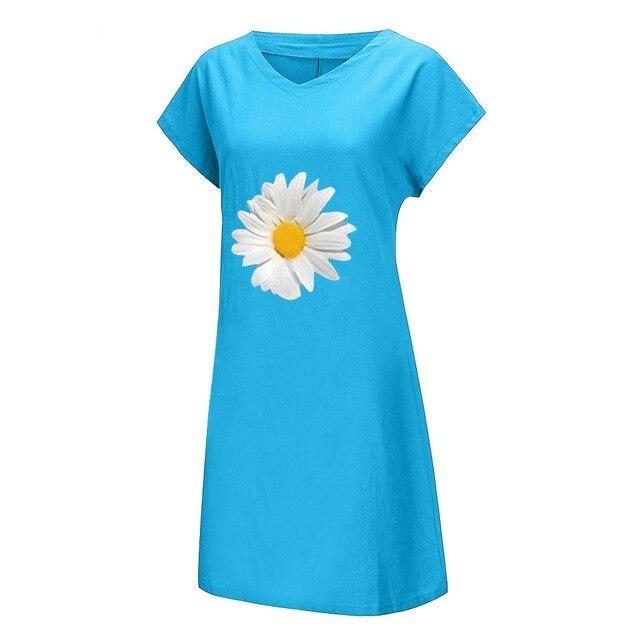 Fashion linen dress Women Plus Size Daisy Printed Short Sleeves V-Neck Casual Short Dress bayan elbise 4