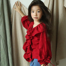 Girls Shirts Kids Winter Clothes 2019 Autumn Long-sleeve Red Blouses Cotton Shirts Girls V-neck Tees Children Clothing Tops girls plaid blouse 2019 spring autumn turn down collar teenager shirts cotton shirts casual clothes child kids long sleeve 4 13t