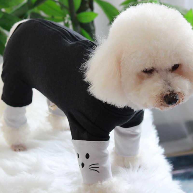 Kombinezon dla psa jesień/zima czesana bawełna strój dla szczeniaczka chroń brzuch kombinezon dla małych psów piżama bluza z długim rękawem