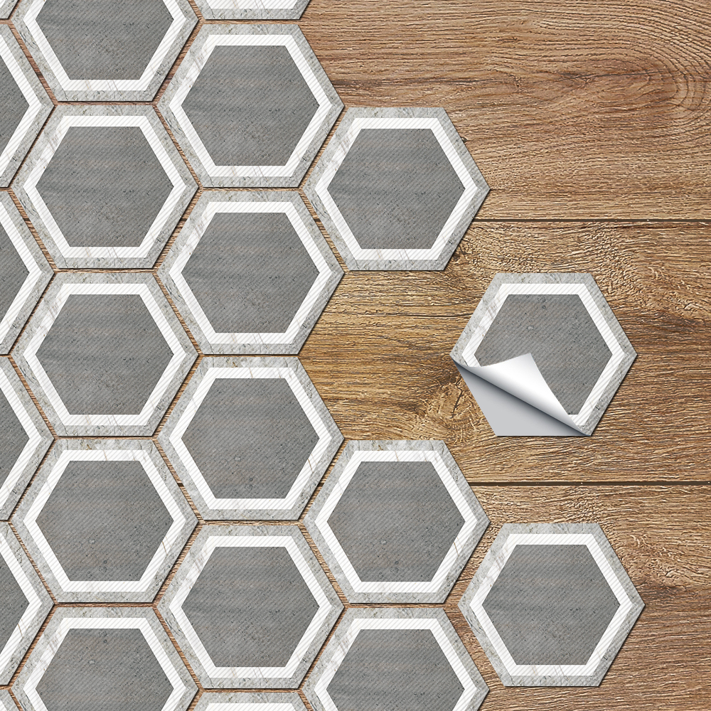 American Simple Gray-white Vinyl Wall Floor Tile Decals Anti-skid Waterproof Creative Hexagon