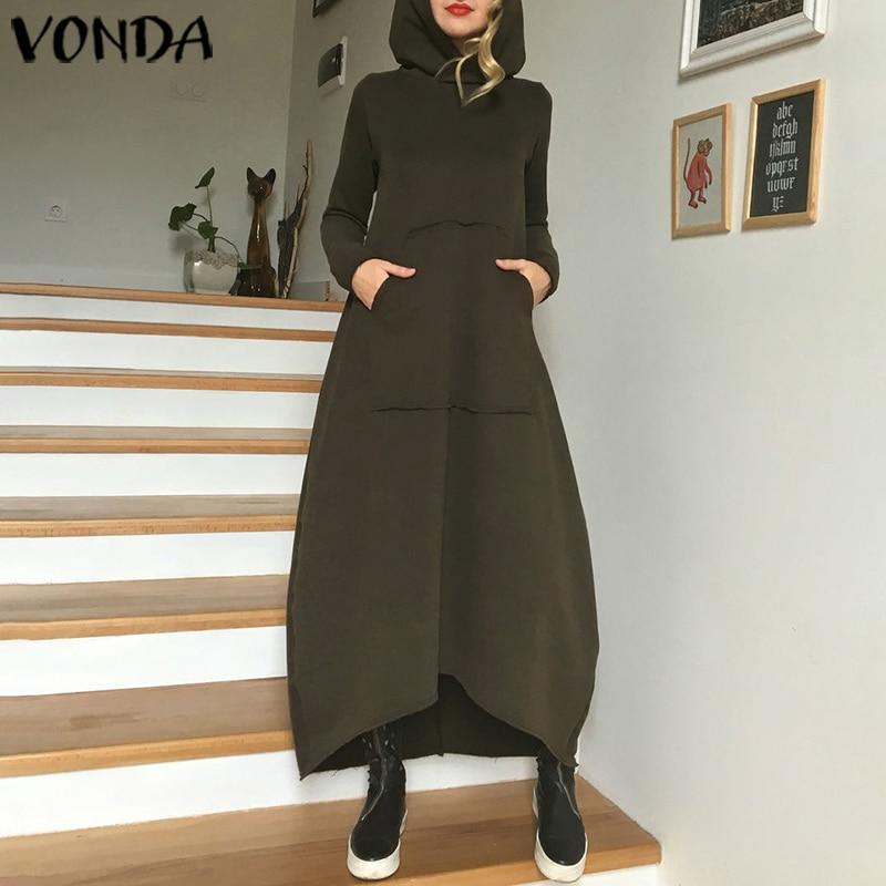 Women Winter Maxi Dress VONDA 2019 Autumn Solid Color Hoodied Dresses Plus Size Beach Sundress Bohemian Vestidos Femme Long Robe