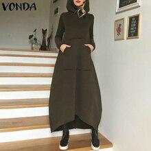 Women Winter Maxi Dress VONDA 2019 Autumn Solid Color Hoodied Dresses