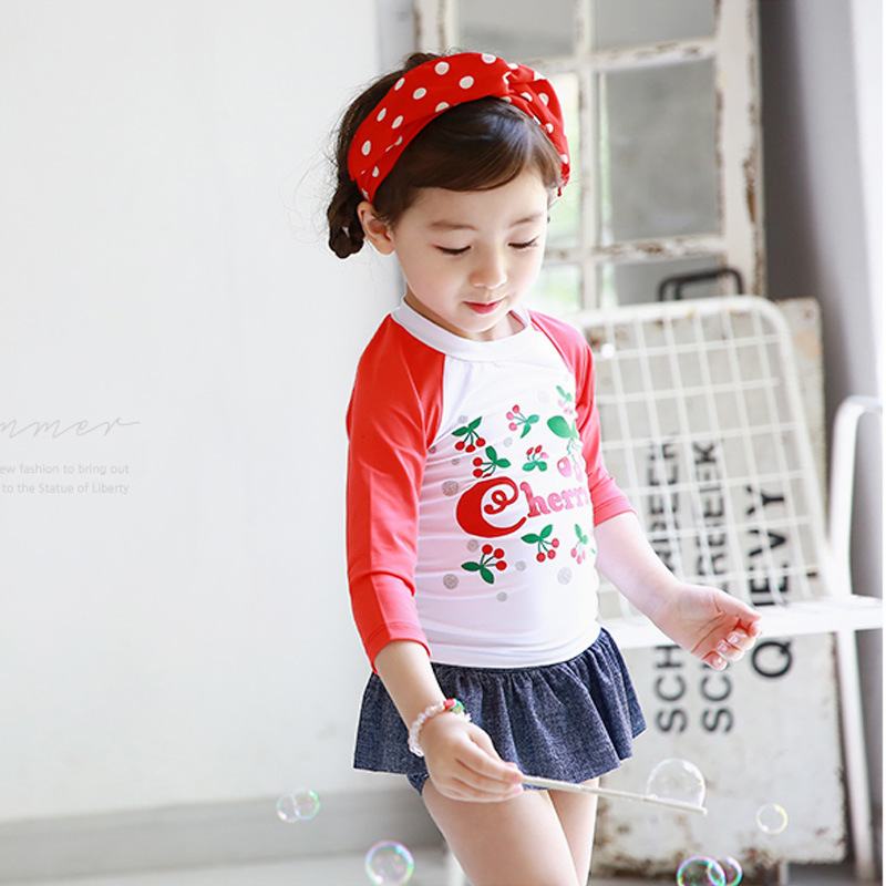 New Style Korean-style KID'S Swimwear Cartoon Cherry Digital Printing Split Type Long Sleeve Skirt-Medium-small Baby GIRL'S Swim