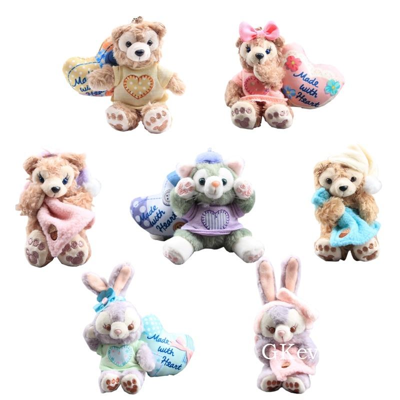 9-12 Cm Kawaii Keychain Pendant Rabbit Bear Plush Doll Toy Tella Lou Rabbit Lovely Bunny Duffy Friends Fluffy Plush Pendant Gift