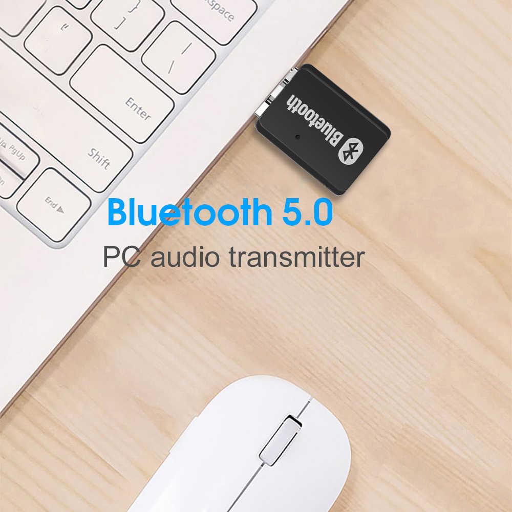 Kebidumei Portable USB bluetooth 5.0 audio transmitter Wireless Stereo Audio Adapter BT5.0 Transmitterfor PC
