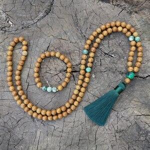 8 мм древесно зернистый песчаник, Qinghai Jade Japa Mala набор, Медитация Мала, Намасте Йога ювелирные изделия, Буддийские мала четки, 108 бусина мала