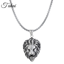 Retro Stainless Steel Lion Head Pendant Punk Style Vintage Long Chain Necklace for Men Trendy Jewelry astronaut pendant necklace galaxy universe spaceman meditation trinket retro stainless steel chain men necklace