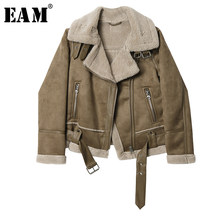 [EAM] Loose Fit Suede Split Wool Liner Short Jacket New Stand Collar Long Sleeve Women Coat Fashion Tide Autumn Winter 2019 1H67(China)