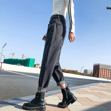 Pants Straight Jeans Fashion Loose Spring Black Female WOMEN Harem Ankle-length Streetwear Mid Zipper Fly COTTON Show Thin loose fit zipper fly mid waisted straight jeans