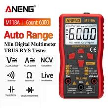 ANENG M118A Digitale Mini Multimetro Tester Auto Mmultimetro Vero Rms Tranistor Meter con NCV Data Hold 6000 conti Torcia Elettrica