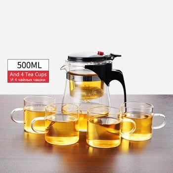 Théière en verre résistant à la chaleur, tasses de thé, 12
