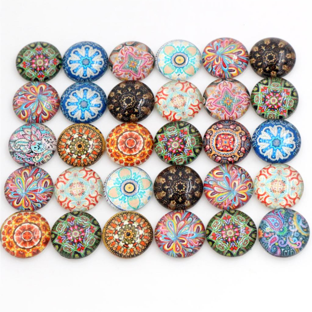 50pcs/Lot 12mm Photo Glass Cabochons Mixed Color Cabochons For Bracelet Earrings Necklace Bases Settings-E7-25
