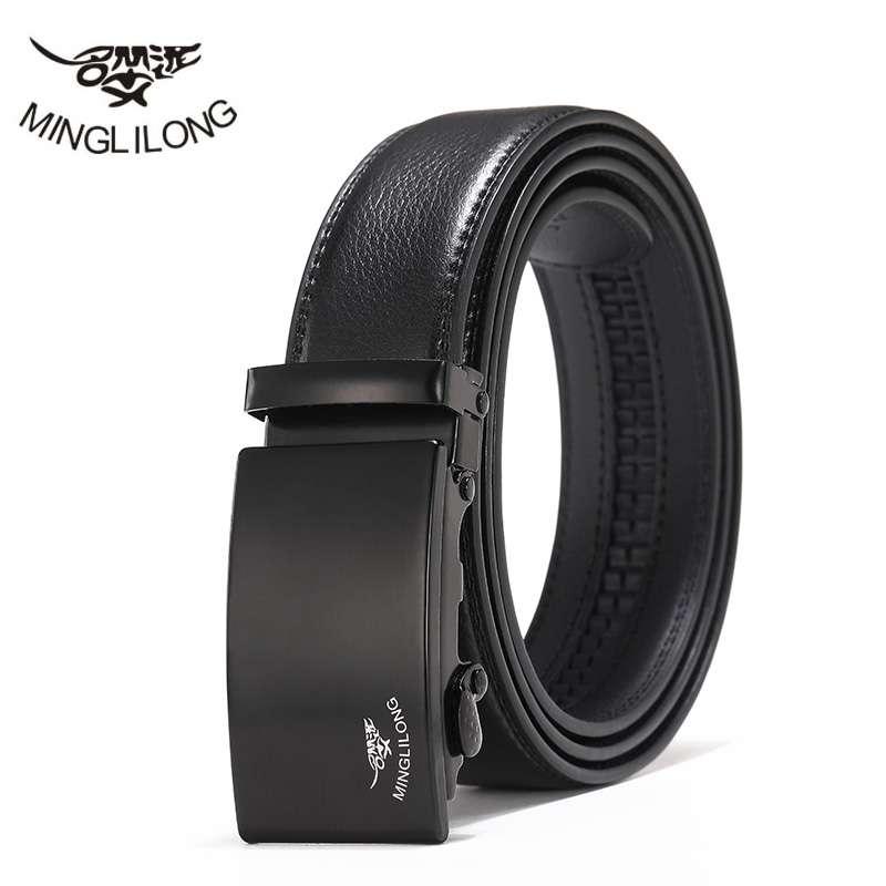 MINGLILONG Cool Brand Automatic Buckle Belts Genuine Leather Belt For Men Fashion Black Men's Belts Split Cow Leather Belts