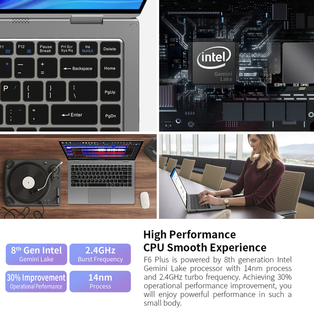 "Teclast Newest laptop F6 Plus 13.3"" Notebook 1920×1080 IPS Gemini Lake N4100 Windows10 8GB LPDDR4 256GB SSD 360° Rotation touch"
