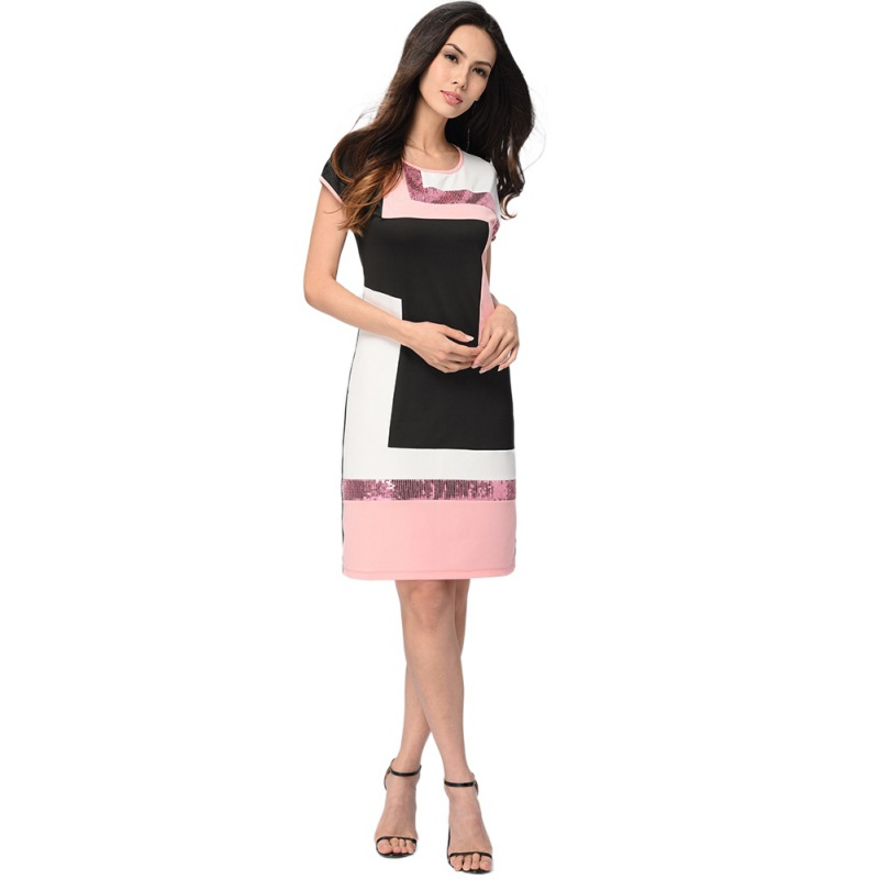 Women Daily Shift Dress Summer O-Neck Pacthwork Sheath Contrast Sequined Midi Robes Prom Work Dress 1