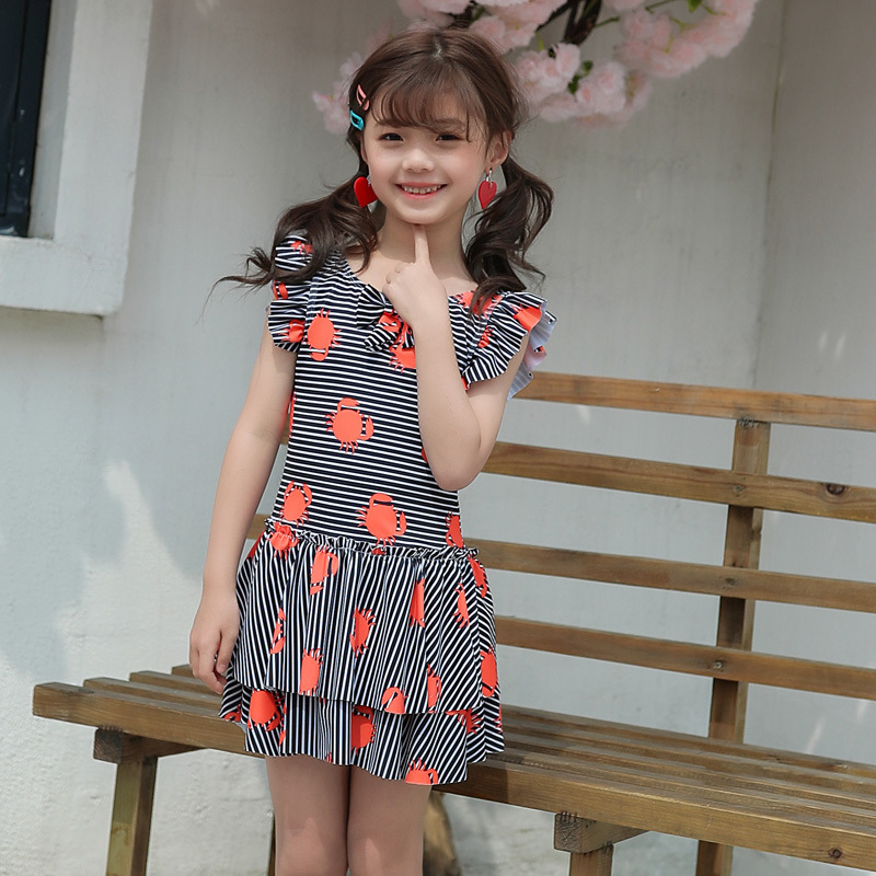 South Korea New Style Girls Cute All Floral Dress-Bathing Suit