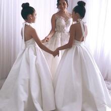 Elegant White Halter White Ivory Satin Junior Girls Wedding Dresss Communication Dresses Flower Girl Dress 2021