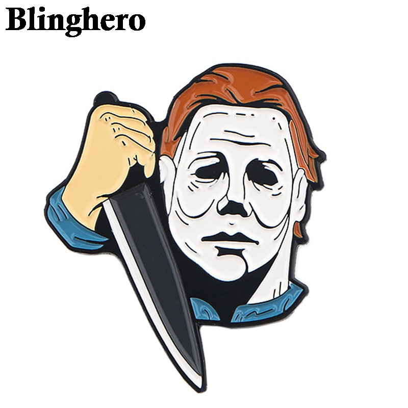 CA357 Halloween Michael Myers Horror Metal Brooches And Pins Enamel Pin For Backpack/Bag Badge Brooch T-shirt Collar Jewelry