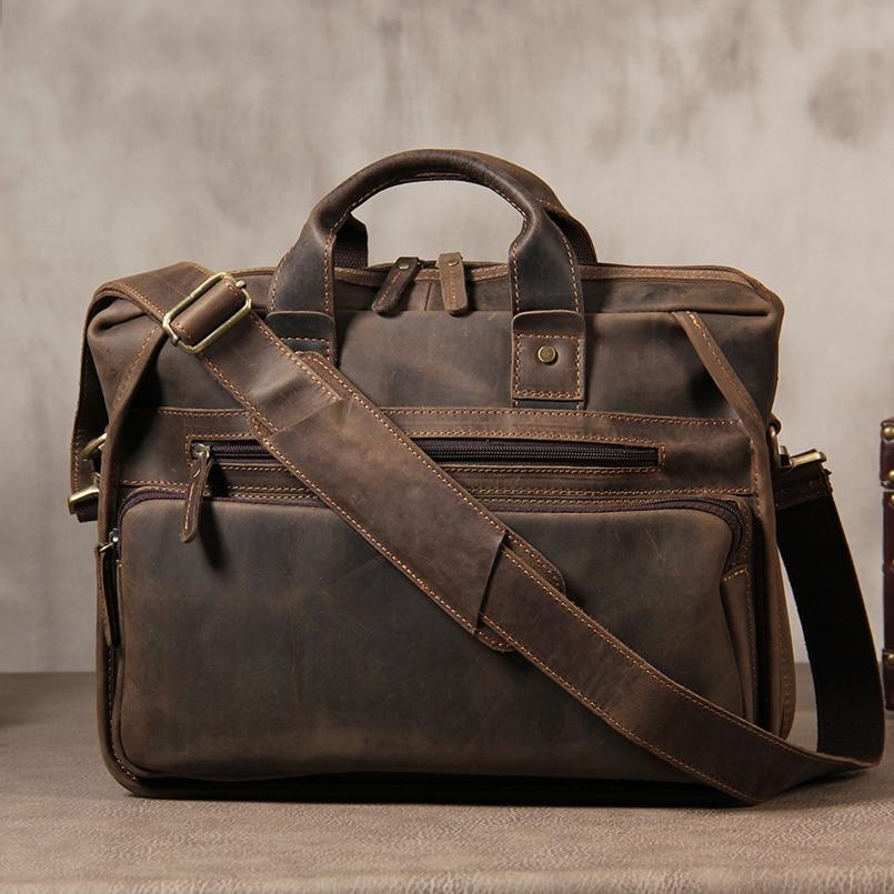 MAHEU Vintage Genuine Leather Briefcase For Male Handmade Leather Handbags 14 Inch Computer 2019 Popular Designer Crossbody Bag