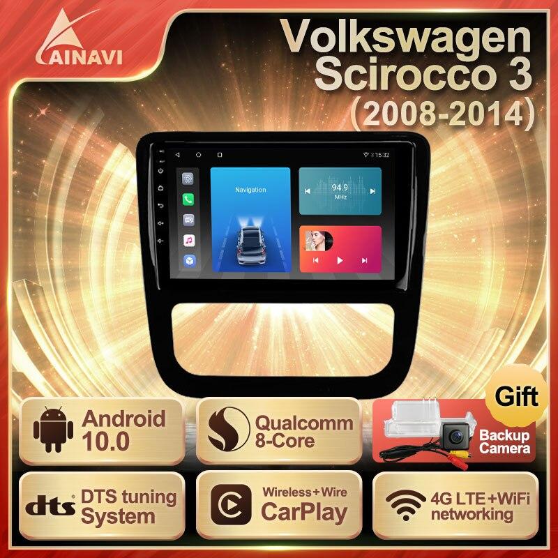 Автомобильный радиоприемник Android 10 QLED экран для Volkswagen VW Scirocco 3 2008-2014 автомобильный стерео Мультимедийный Плеер навигация Carplay No 2din