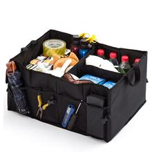 Portable Universal Car Trunk Organizer Universal Collapsible Storage Box Multi-compartments Car Black Stowing Tidying Box
