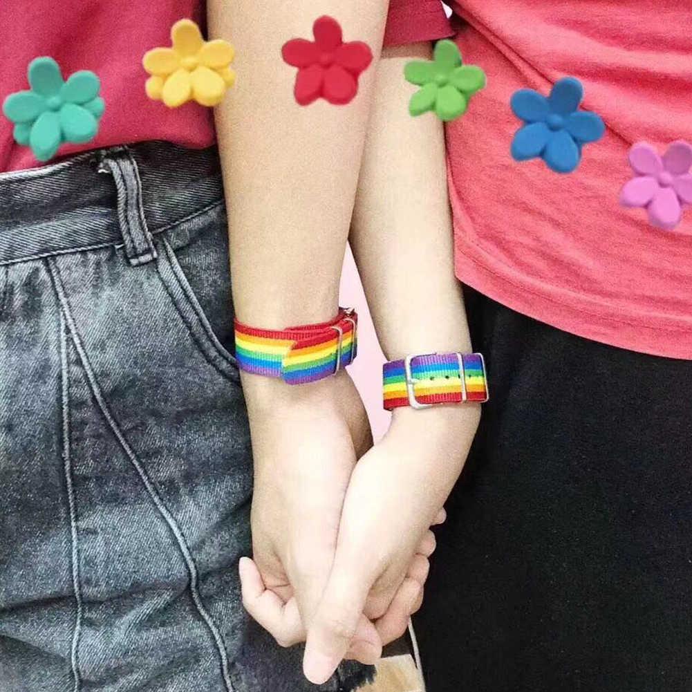 Naylon gökkuşağı lezbiyenler eşcinsel Bisexuals transseksüel bilezikler kadınlar kızlar için gurur dokuma örgülü erkek çift dostluk takı