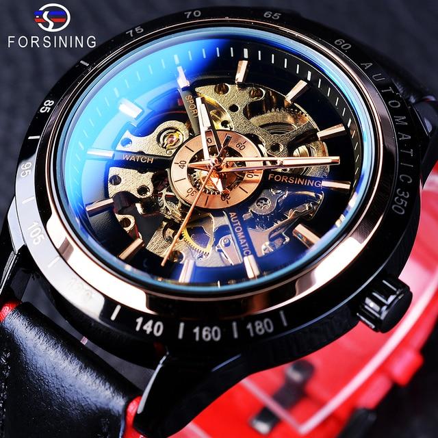Forsining montre automatique pour hommes, conception de moto, ceinture noire authentique, étanche, squelette, marque de luxe, horloge mécanique