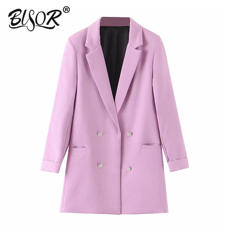 Women Chic Blue Blazer Decorate Button Open Stitch Pockets Back Split Violet Blazers Female Work Wear Stylish Coat