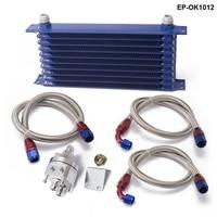 Universal 10 row kit refrigerador de óleo com filtro de óleo kit de recolocação para turbo corrida EP OK1012|oil cooler kit|cooler kit|rowe oil -