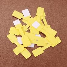 300 шт./лот белая/желтая/Розовая бумага для ювелирных изделий, этикетка для упаковки бирок 6*1,2 см, прямоугольная бумага, клейкая наклейка для р...