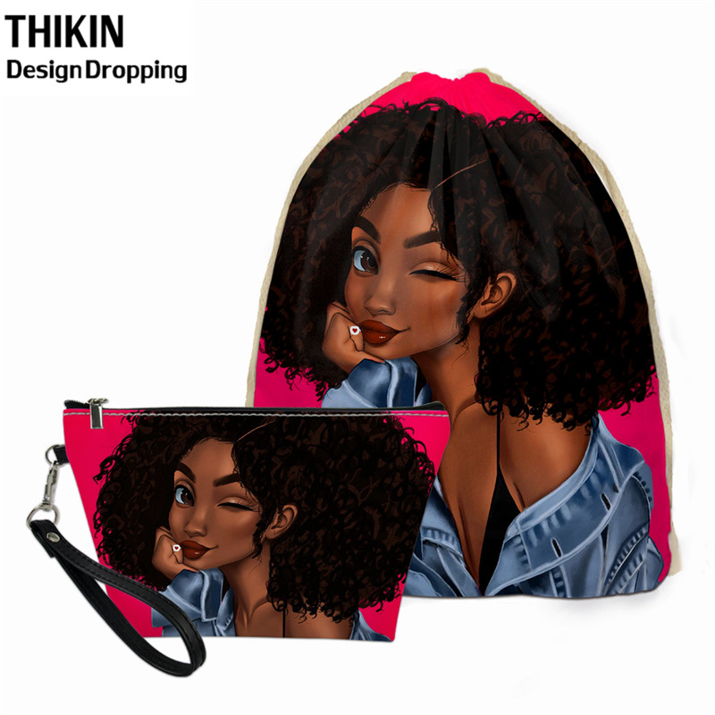 THIKIN Women Drawstring Bag African Black Girls Leather Makeup Travel Bag Zipper 2pcs Custom Logo Pouch Female Sacos De Mujer