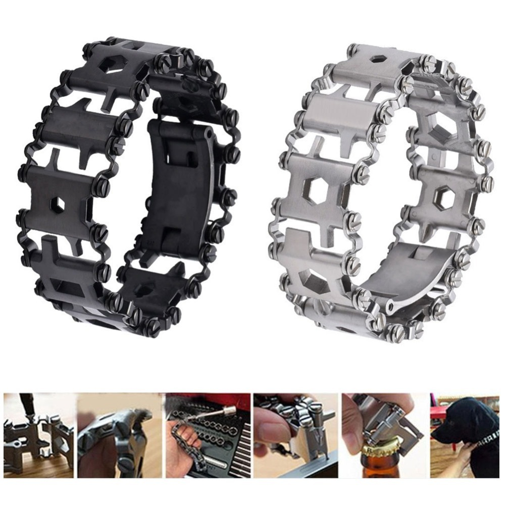 Multi 29 In 1 Tool Bracelet Stainless  Tread Bracelet Outdoor Bolt Driver Tools Kit Travel G-shock IWatch ETC(Black/Silver)
