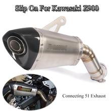 Slip-on For Kawasaki Z900 Ninja Motorcycle Exhaust Muffler Tail Mid Link Pipe Oneness Steel Carbon Fiber Tube ATV Refit