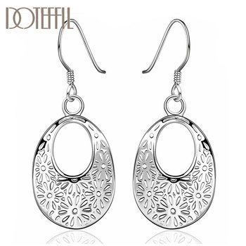 DOTEFFIL 925 Sterling Silver Patterned Oval Drop Earrings Charm Women Jewelry Fashion Wedding Engagement Party Gift doteffil 925 sterling silver grapes more beads charm bracelets jewelry for fashion women wedding engagement gift
