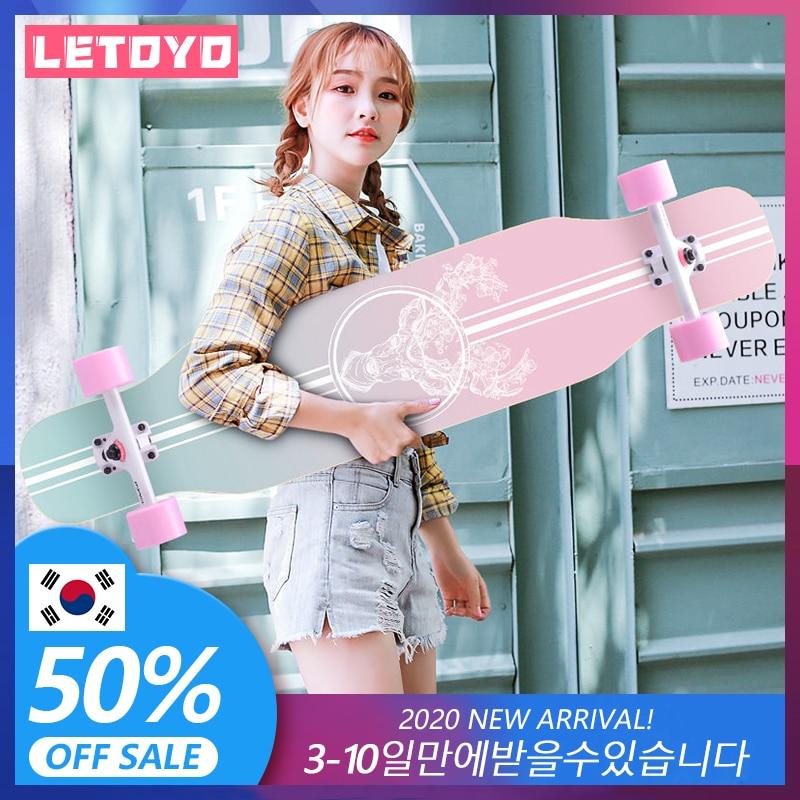 LETOYO-tabla larga de rodamiento de acero para monopatín, tabla de skateboard de 107cm/42 pulgadas, longboard 7in, Abec-7 de aluminio