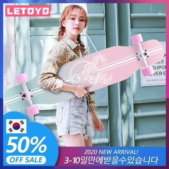 LETOYO-tabla larga de rodamiento de acero para monopatín, tabla de skateboard de...