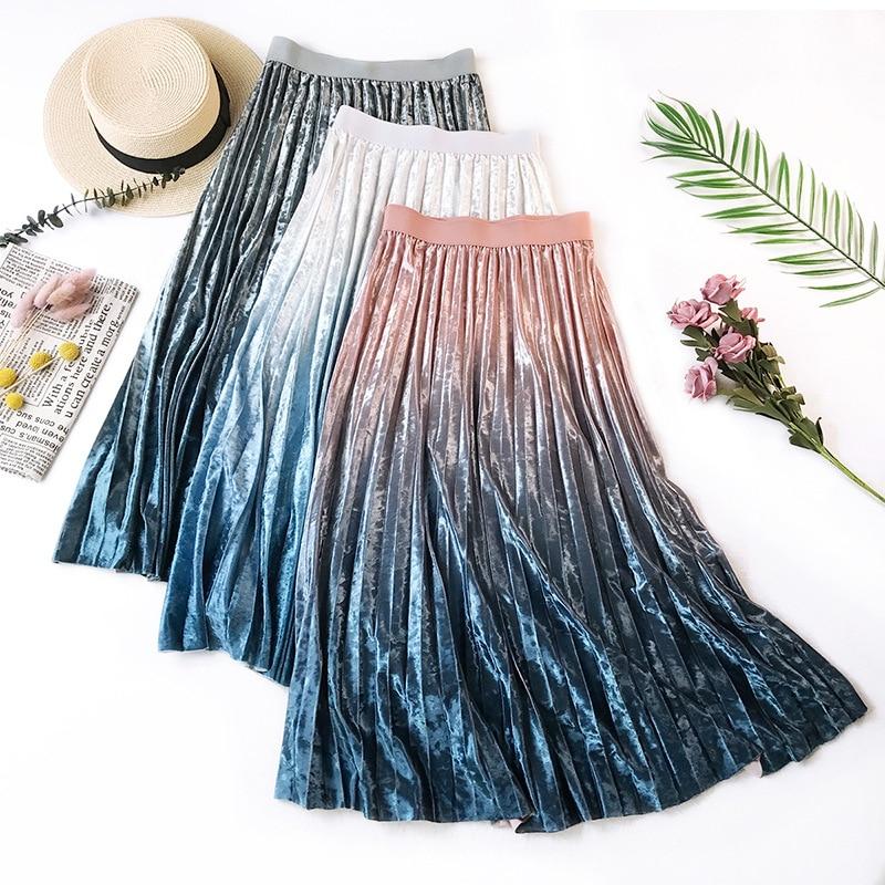 Gradient Velvet Pleated Skirt 4