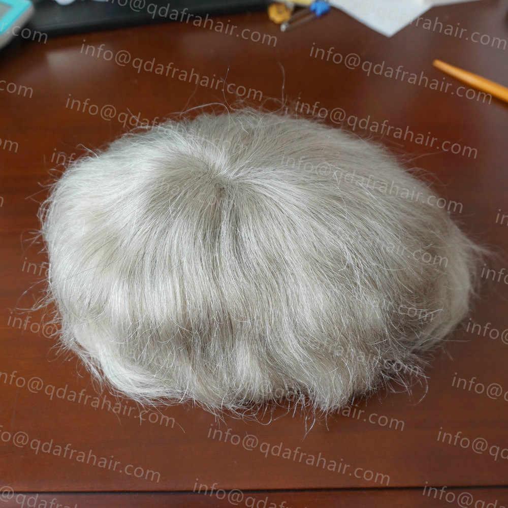 Hstonir tam ince kaynaklı Mono dantel peruk erkekler peruk 6x8 inç 1780 # doğal gerçek hint Remy saç yedek H015