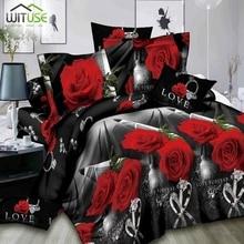 3Pcs/set 3D Rose Flowers Print Wedding Bedding Sets King Queen Size Bed Quilt Duvet Cover Set Pillowcases Case Bedclothes bedding set полутораспальный сайлид red flowers