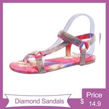 flat sandals for women 2020 rhinestone summer bling Beach House Ladies Slippers Slides Black Pantuflas Comfortable Crystal shoe цена 2017