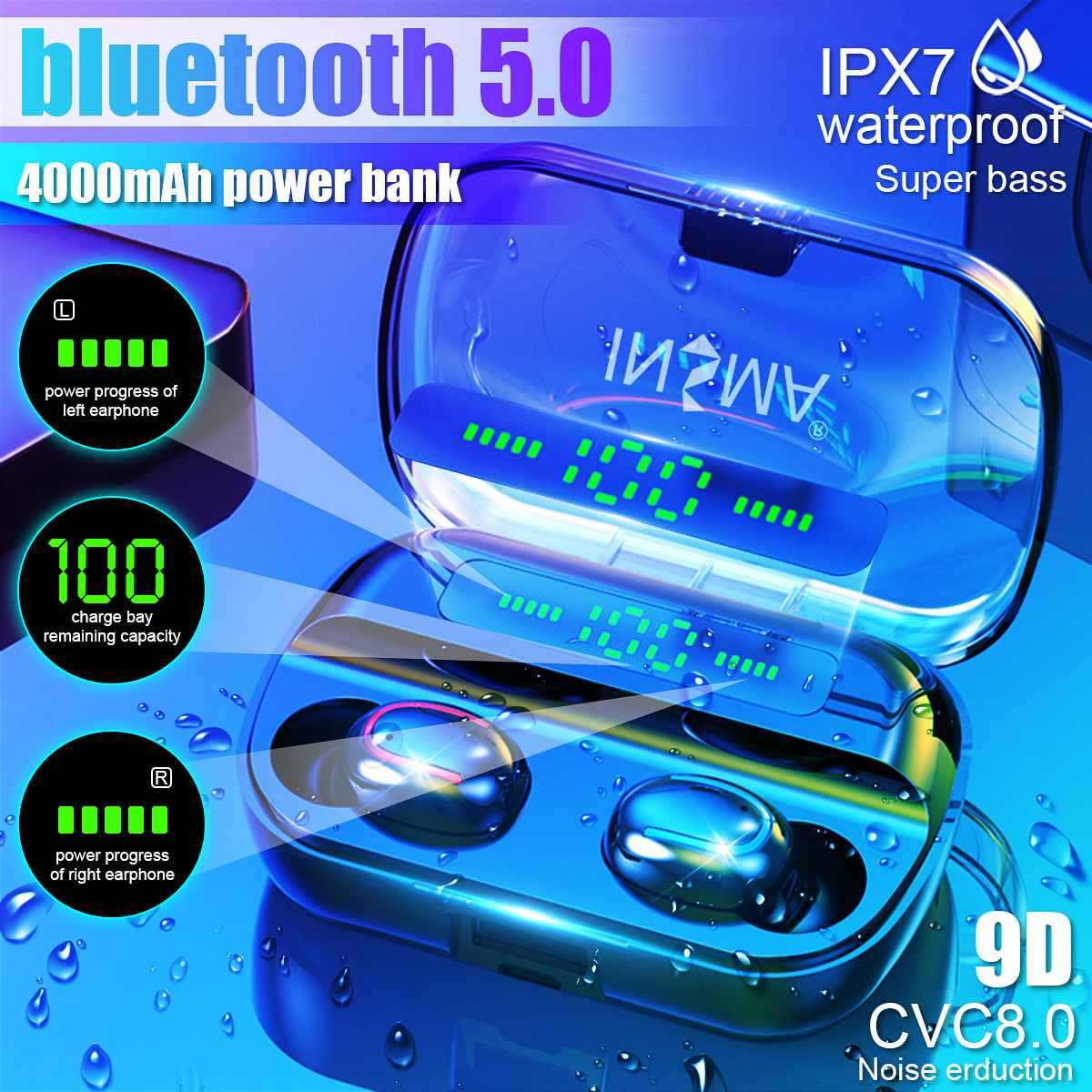 Insma VFM-2 dengan Power Bank 4000 MAh Bluetooth 5.0 Tws Earphone LED Digital Display Nirkabel Headphone Stereo Olahraga Earbud