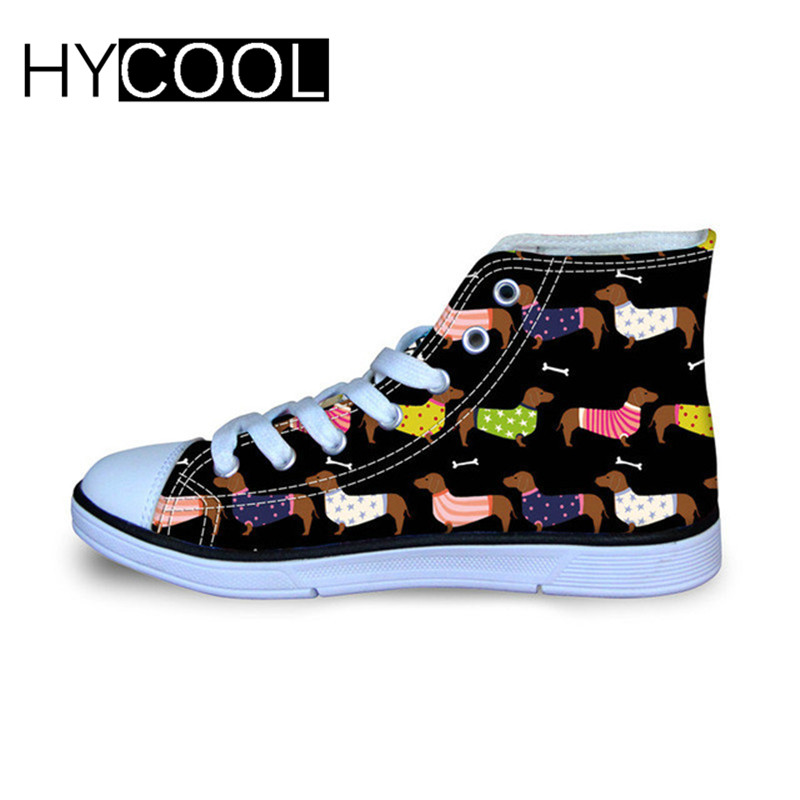 HYCOOL Cute Dachshund Dog Printing Children Flat Shoes Stylish High Top Vulcanize Shoes for Girls Boys Comfort Canvas Shoes 2020|Walking Shoes| |  - title=