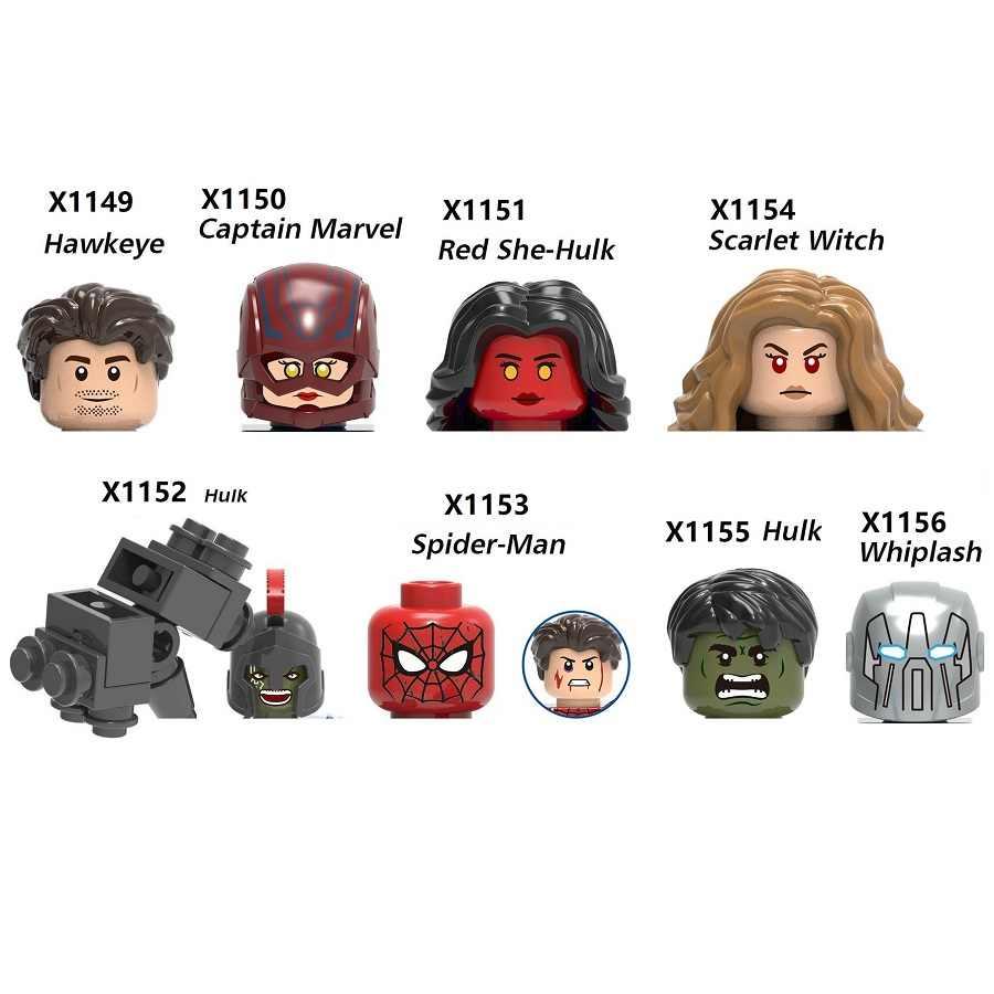 Hawkeye Capain Marvel Red She Hulk Scarlet Witch Whiplash Blacklash bloki Mini figurka MiniFigure zabawki