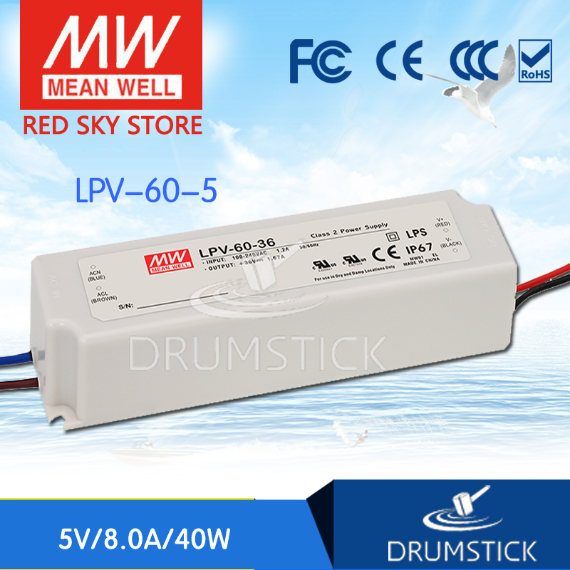 kindly MEAN WELL 6Pack LPV-60-5 5V 8A meanwell LPV-60 5V 40W Single Output LED Switching Power Supply