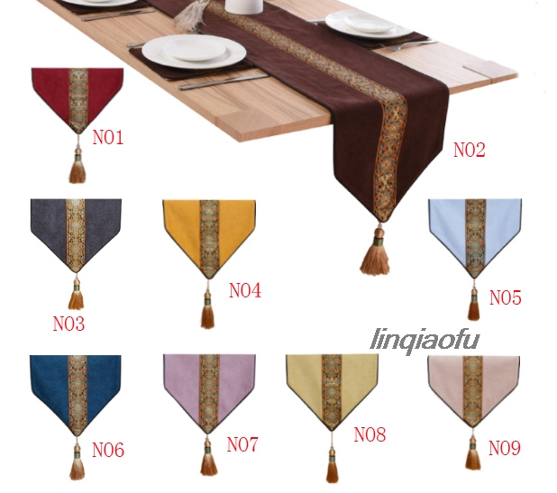 New Chinese Modern Minimalist Table Flag  European Pastoral Style Tablecloth Coffee Table Cloth Bed Flag  Table Runner