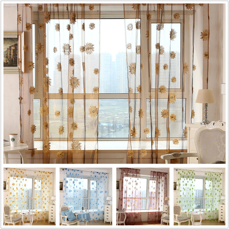 Sun Flower Printed Sheer Curtains For Bedroom Jinya Home Kitchen Tulle Curtain Panels 1 PCS Window Screen Voile For Living Room