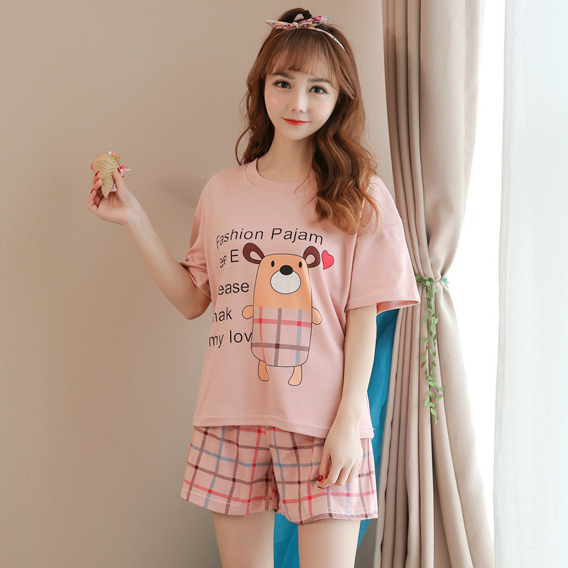Multi--Korean-style Summer Pajamas WOMEN'S Short Sleeved Shorts WOMEN'S Suit Cute Cartoon Thin Two-Piece Set Home Wear