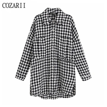 Vintage Stylish Oversized Houndstooth Jacket Coat Women 2019 Fashion Pockets Frayed Side Vents Loose Plaid Outerwear Chic Tops black side pockets sleeveless outerwear